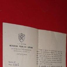 Militaria: DOCUMENTO ORIGINAL DE 1ª ZONA DE INSTRUCCION PREMILITAR SUPERIOR, 1954, MADRID. Lote 253312475