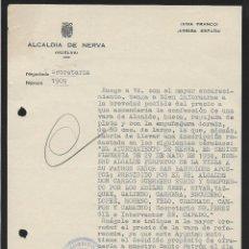 Militaria: NERVA-HUELVA-, EL ALCALDE: CARLOS GUERRERO RUBIO ,- A MANUEL SECO VELASCO, ORFEBRE. VER FOTO. Lote 253913380