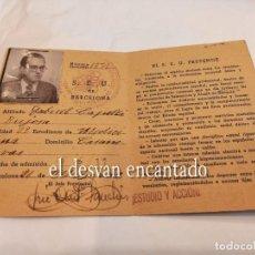 Militaria: GUERRA CIVIL. CARNET SEU. SINDICATO ESPAÑOL UNIVERSITARIO. ESTUDIANTE MEDICINA. BARCELONA MAYO 1939. Lote 254211725