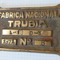 Militaria: PLACA FABRICA NACIONAL DE TRUBIA, 1971, Nº 6, MIDE 10 X 6 CM. Lote 5091910