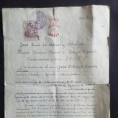 Militaria: DOCUMENTO FIRMADO POR JOSE LUIS DE ARRESE. MINISTRO SECRETARIO GENERAL DE FALANGE ESPAÑOLA. 1943. Lote 254694980