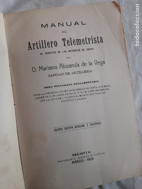 Militaria: MANUAL DEL ARTILLERO TELEMETRISTA, MARZO 1920 - Foto 2 - 255579525