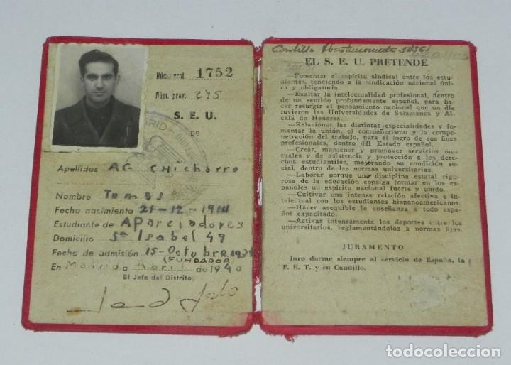 GUERRA CIVIL, CARNET DE FALANGE, SINDICATO ESPAÑOL UNIVERSITARIO, ABRIL 1940, MADRID. POST GUERRA CI (Militar - Propaganda y Documentos)