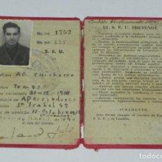 Militaria: GUERRA CIVIL, CARNET DE FALANGE, SINDICATO ESPAÑOL UNIVERSITARIO, ABRIL 1940, MADRID. POST GUERRA CI. Lote 257332425