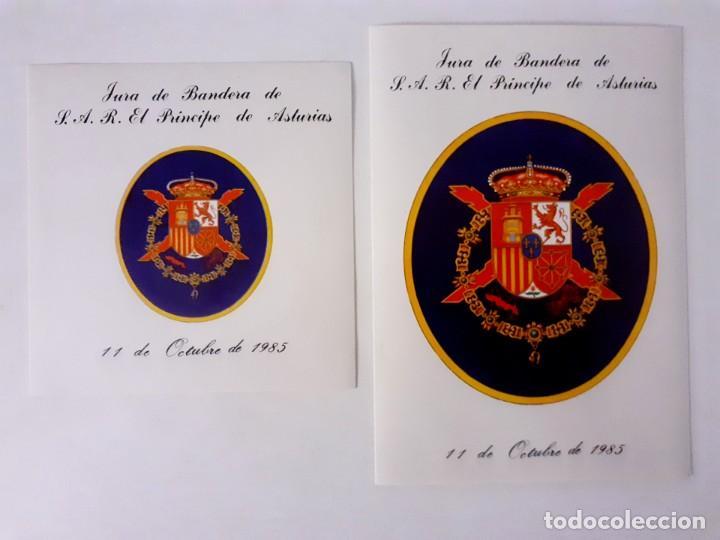 DOS PEGATINAS MILITAR JURA DE BANDERA DE S.A.R. EL PRINCIPE DE ASTURIAS. 11 DE OCTUBRE 1985 (Militar - Propaganda y Documentos)