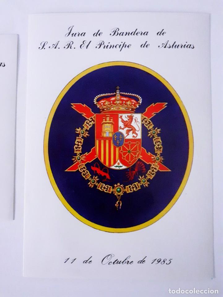 Militaria: Dos Pegatinas MILITAR JURA DE BANDERA DE S.A.R. EL PRINCIPE DE ASTURIAS. 11 de Octubre 1985 - Foto 2 - 258502535