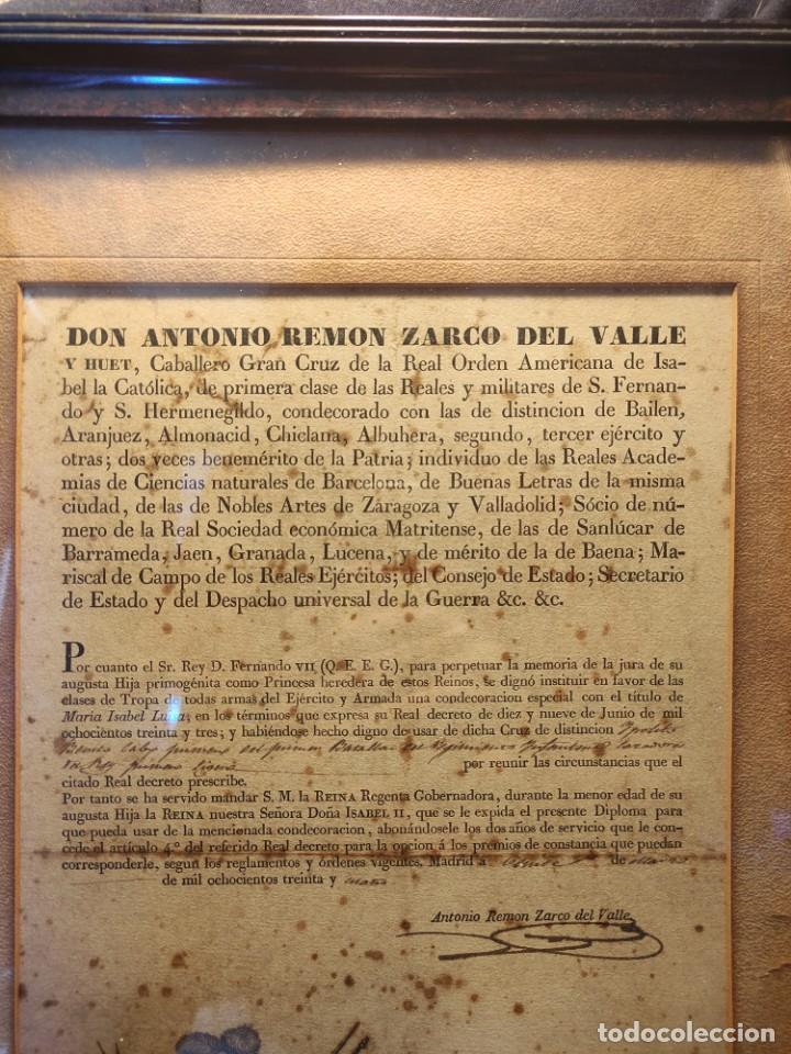 Militaria: Diploma de Isabel María Luisa con medalla al valor - Foto 2 - 261103460
