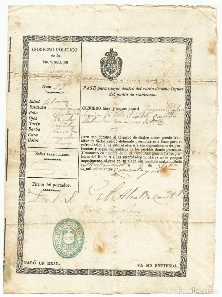 SEGUNDA GUERRA CARLISTA. LLIÇÀ D'AMUNT (BARCELONA) 1847, PASE O SALVOCONDUCTO DE VIAJE. LOTE 0011 (Militar - Propaganda y Documentos)