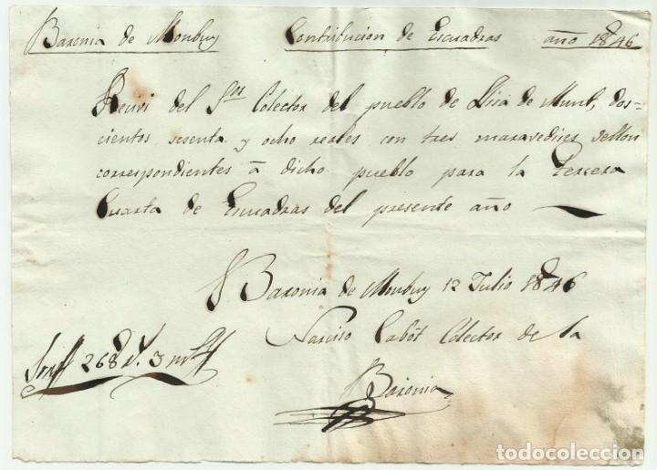 SEGUNDA GUERRA CARLISTA. LLICÀ D'AMUNT-BARONIA DE MONTBUI (BARCELONA) 1846. DOCUMENTO LOTE 0012 (Militar - Propaganda y Documentos)