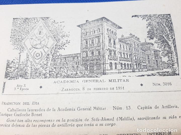 Militaria: DOCUMENTOS DE LA ACADEMIA GENERAL MILITAR DE ZARAGOZA AÑO 1951, ORDEN DE LA JEFATURA. - Foto 2 - 261949640
