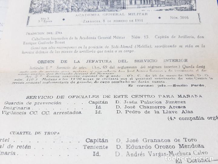 Militaria: DOCUMENTOS DE LA ACADEMIA GENERAL MILITAR DE ZARAGOZA AÑO 1951, ORDEN DE LA JEFATURA. - Foto 4 - 261949640