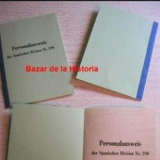 Militaria: DIVISION AZUL CARTILLA MILITAR ALEMANA PERSONALAUSWEIS DER SPANISCHEN DIVISION NR. 250 REPRODUCCION. Lote 262902830