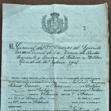 Militaria: LICENCIA ABSOLUTA ZONA DE RECLUTAMIENTO Y RESERVA DE JÁTIVA Nº 20 FECHADO 14 DICIEMBRE DE 1906. Lote 263033290
