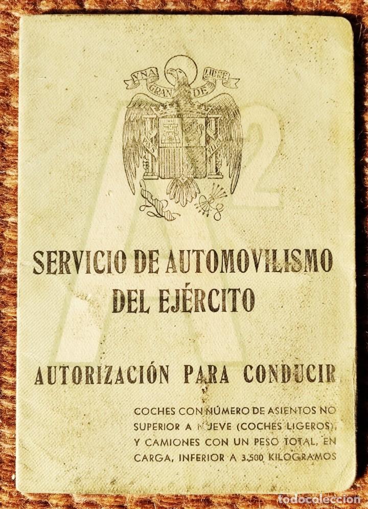 SERVICIO DE AUTOMOVILISMO DEL EJERCITO - CARNET DE CONDUCIR - 1952 (Militar - Propaganda y Documentos)