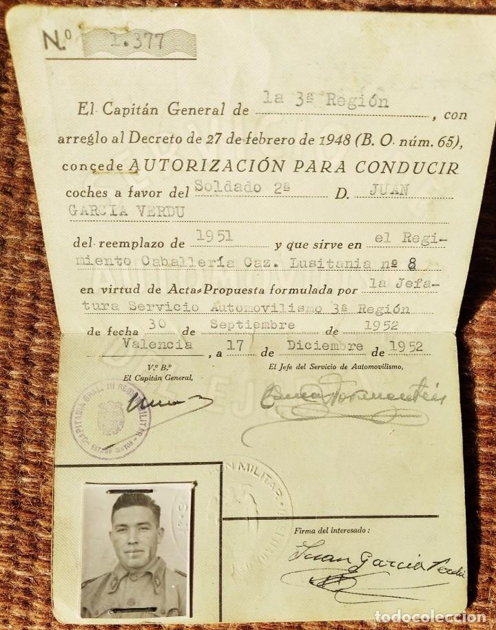 Militaria: SERVICIO DE AUTOMOVILISMO DEL EJERCITO - CARNET DE CONDUCIR - 1952 - Foto 2 - 263241600