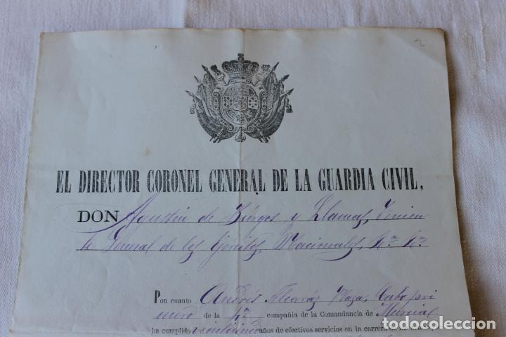 Militaria: CABO PRIMERO GUARDIA CIVIL DISTINCION DE 3 GALONES, 1884, COMANDANCIA DE MURCIA - Foto 2 - 263244375