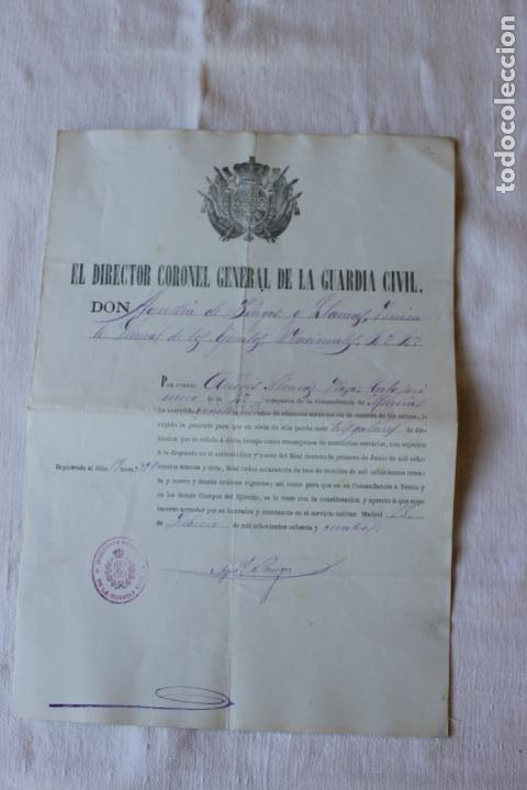 CABO PRIMERO GUARDIA CIVIL DISTINCION DE 3 GALONES, 1884, COMANDANCIA DE MURCIA (Militar - Propaganda y Documentos)