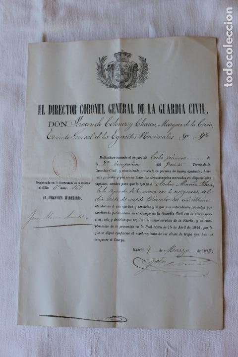 ASCENSO A CABO 1º, 9ª COMPAÑIA DEL 5º TERCIO, DIRECTOR CORONEL MARQUES DE LA CENIA (Militar - Propaganda y Documentos)