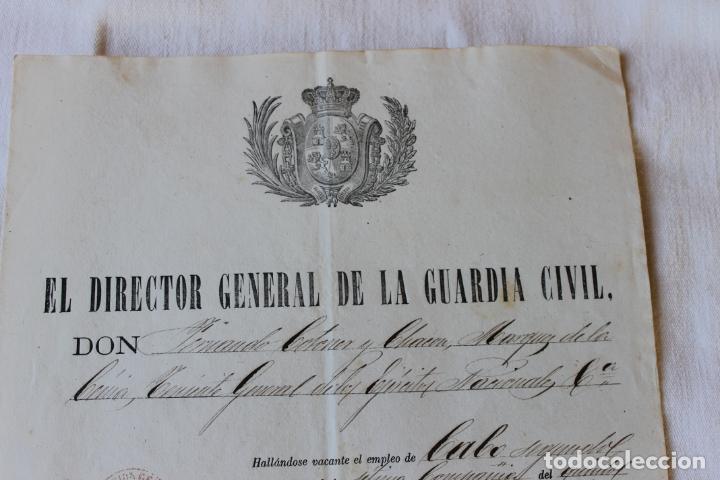 Militaria: ASCENSO GUARDIA 1º A CABO SEGUNDO, 1875 DIRECTOR CORONEL MARQUES DE LA CENIA - Foto 2 - 263246485