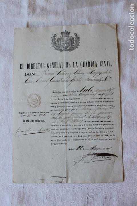 ASCENSO GUARDIA 1º A CABO SEGUNDO, 1875 DIRECTOR CORONEL MARQUES DE LA CENIA (Militar - Propaganda y Documentos)