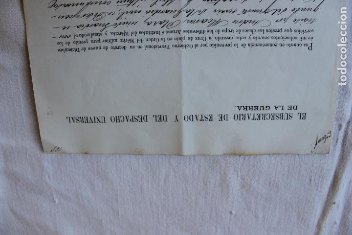 Militaria: CONCESION GUARDIA CIVIL CRUZ SENCILLA DE PLATA MERITO MILITAR 1870 - Foto 2 - 263247975