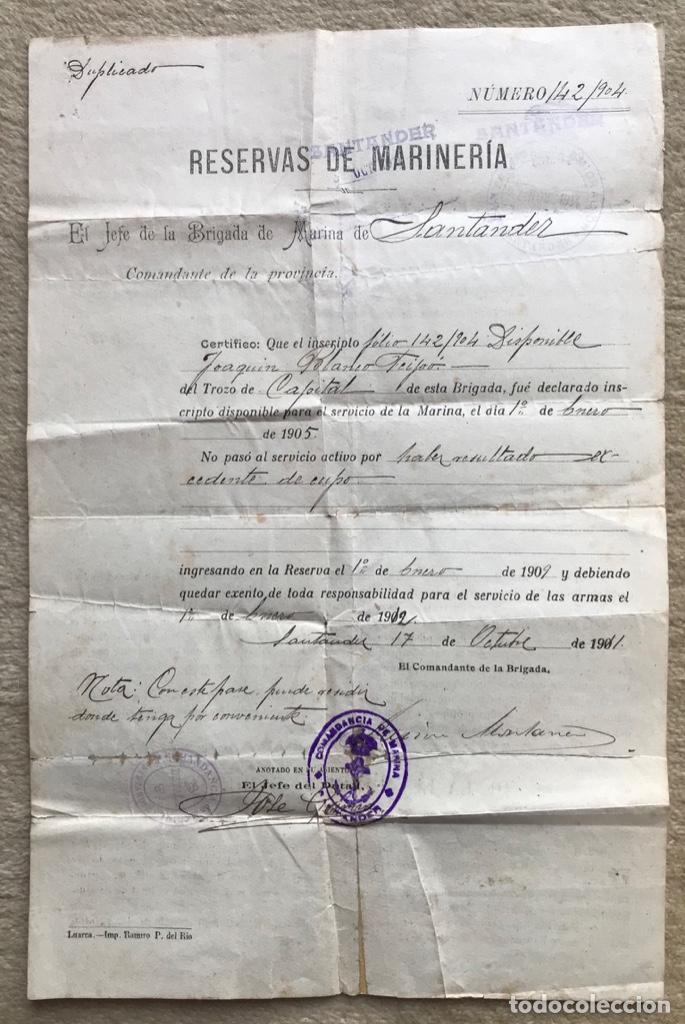 DOCUMENTO RESERVAS DE MARINERÍA - JEFE DE LA BRIGADA DE MARINA DE SANTANDER - EXCEDENTE DE CUPO (Militar - Propaganda y Documentos)