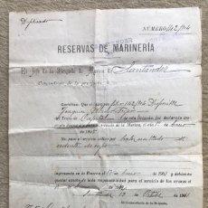 Militaria: DOCUMENTO RESERVAS DE MARINERÍA - JEFE DE LA BRIGADA DE MARINA DE SANTANDER - EXCEDENTE DE CUPO. Lote 263249145