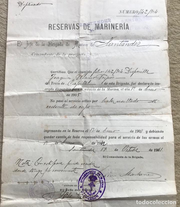Militaria: Documento Reservas de Marinería - Jefe de la Brigada de Marina de Santander - Excedente de Cupo - Foto 2 - 263249145