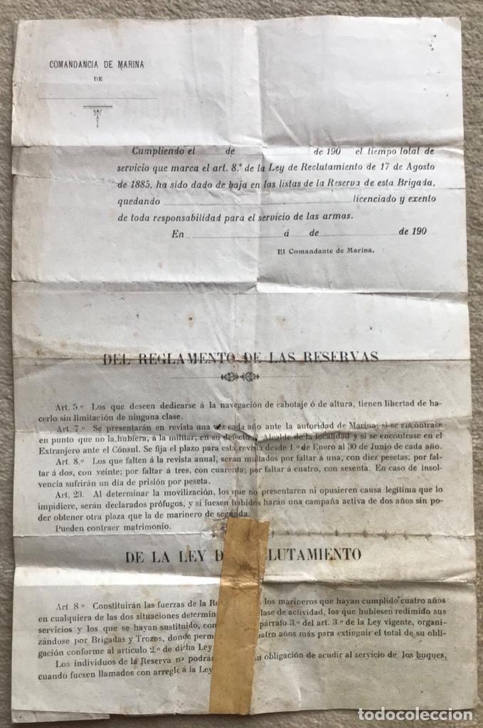Militaria: Documento Reservas de Marinería - Jefe de la Brigada de Marina de Santander - Excedente de Cupo - Foto 3 - 263249145