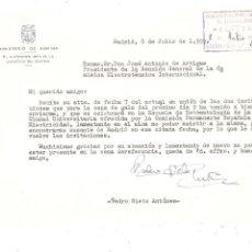 Militaria: MADRID 1959 CARTA AUTÓGRAFA DEL ALMIRANTE PEDRO NIETO ANTÚNEZ (FERROL,1898). Lote 263713995