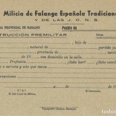 Militaria: FICHA INSTRUCCIÓN PRELIMINAR DE MILICIA DE FALANGE ESPAÑOLA TRADICIONALISTA Y DE LAS JONS. EN BLANCO. Lote 266145568
