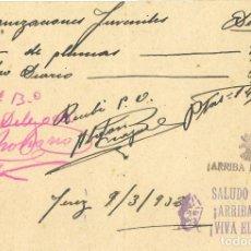 """Militaria: GUERRA CIVIL. RECIBO DE LEANDRO BRAVO """"DROGUERÍA CENTRAL"""" DE ORGANIZACIONES JUVENILES 9.3.38. Lote 266146188"""