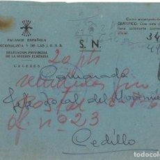 Militaria: CARTA CERTIFICADA CON FRANQUICIA DE LA DELEGACIÓN PROVINCIAL DE LA SECCIÓN FEMENINA DE FET DE JONS. Lote 266147973