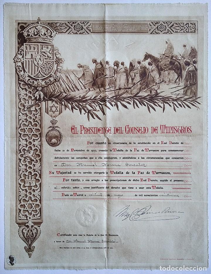 BONITO DIPLOMA ACREDITATIVO Y NOMINATIVO DE CONCESIÓN DE LA MEDALLA DE LA PAZ DE MARRUECOS AÑO 1929 (Militar - Propaganda y Documentos)