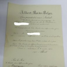 Militaria: NOMBRAMIENTO DE LA ORDEN DE LEOPOLDO II, BRUSELAS 1913, ALBERT, REY DE BELGICA, A FAVOR DE UN PROFES. Lote 267705499