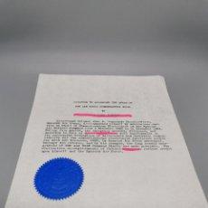 Militaria: CITACION PARA CONDECORAR DE LA AIR FORCE AMERICANA A CORONEL ESPAÑOL EJERCITO DEL AIRE 1964. Lote 268772359