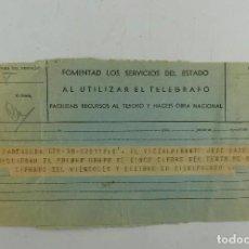 Militaria: TELEGRAMA MILITAR, DEL COMANDANTE NAVAL DE MENORCA AL VICEALMIRANTE JEFE DE LA BASE NAVAL. 1941. Lote 268986244