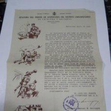 Militaria: (M) CARTELITO JEFATURA DEL FRENTE DE JUVENTUDES DEL DISTRICTO UNIVERSITARIO DE CATALUÑA Y BALEARES. Lote 269246238