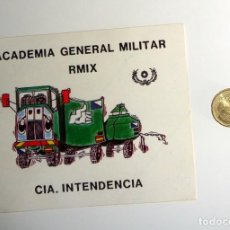 Militaria: PEGATINA MILITAR ANTIGUA. ACADEMIA GENERAL MILITAR RMIX. CIA.INTENDENCIA. EJERCITO ESPAÑOL.. Lote 269643458