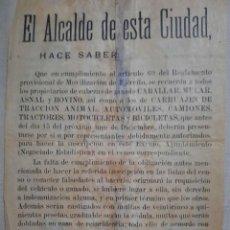 Militaria: DOCUMENTO MILITAR. EL ALCALDE DE ESTA CIUDAD ,HACE SABER.. Lote 269649268
