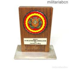 Militaria: PLACA CONMEMORATIVA DE LOS REALES SOMATENES ARMADOS DE CATALUÑA. 11 CM DE ALTO.. Lote 269830493