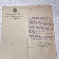 Militaria: COMANDANCIA GENERAL DE LOS SOMATENES ARMADOS DE CATALUNYA 1931. COMANDANTE PABLO GALOFRE.. Lote 270920788