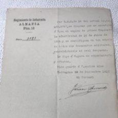 Militaria: BATALLÓN DE CAZADORES LLERENA N11. MANUSCRITO 1917.. Lote 270923503
