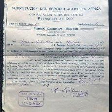 Militaria: CONTRATO SUBSTITUCIÓN DEL SERVICIO MILITAR EN AFRICA / REEMPLAZO 1916 / ALCAÑIZ / ANDORRA / TERUEL. Lote 270927108
