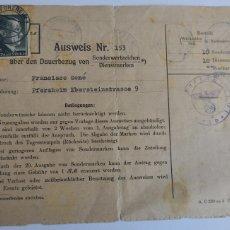 Militaria: III. REICH: TARJETA DE IDENTIFICACIÓN COMPRA PERMANENTE DE LOS SELLOS DESDE EL PUNTO DE ENVÍO 1944. Lote 272636423