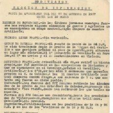 Militaria: PARTE DE OPERACIONES 39 DIVISION EJERCITO POPULAR DE LA REPUBLICA 1937. Lote 274669123