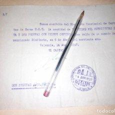 Militaria: RECIBO CONSEJERÍA DE ABASTECIMIENTOS DE VALENCIA DEL SINDICATO DE CORTANTES CARNE UGT GUERRA CIVIL. Lote 276691943