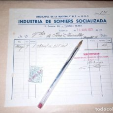 Militaria: RECIBO INDUSTRIA DE SOMIERS SOCIALIZADA CNT UGT GUERRA CIVIL VALENCIA. Lote 276696428