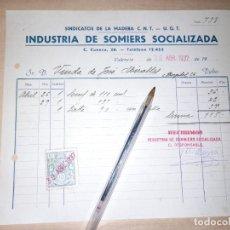 Militaria: RECIBO INDUSTRIA DE SOMIERS SOCIALIZADA CNT UGT GUERRA CIVIL VALENCIA. Lote 276696493