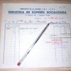 Militaria: RECIBO INDUSTRIA DE SOMIERS SOCIALIZADA CNT UGT GUERRA CIVIL VALENCIA. Lote 276696573